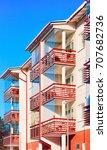 balconies of apartment... | Shutterstock . vector #707682736