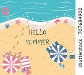 summer vector illustration.... | Shutterstock .eps vector #707684902