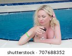 blonde woman with big breasts... | Shutterstock . vector #707688352