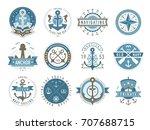 nautical logos templates set.... | Shutterstock .eps vector #707688715