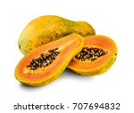 Fresh Papaya Fruit Isolated On...