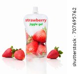 "Small photo of Strawberry jiggle gel with ""strawberry jiggle gel"" writing. Isolated on white background with shadow reflection. Strawberry fruit pouch for kids. Fruit packet for babies with fresh strawberries."