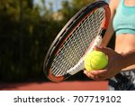 young woman playing tennis ... | Shutterstock . vector #707719102