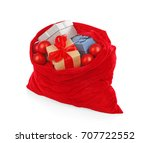 big santa claus bag on white... | Shutterstock . vector #707722552