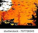 halloween party orange vertical ... | Shutterstock . vector #707728345