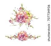 watercolor succulent... | Shutterstock . vector #707734936