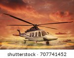 helicopter parking landing on... | Shutterstock . vector #707741452