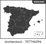 the detailed map of the spain... | Shutterstock .eps vector #707746096