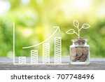 plant growing in savings coins... | Shutterstock . vector #707748496