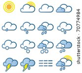 Weather forecast icons set on white background - vector - stock vector