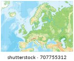 europe physical map. no text.... | Shutterstock .eps vector #707755312