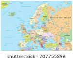 europe political map and roads. ... | Shutterstock .eps vector #707755396