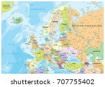 europe political map and... | Shutterstock .eps vector #707755402
