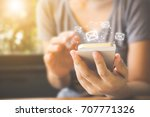 asian woman hand using mobile... | Shutterstock . vector #707771326