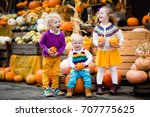 group of little children... | Shutterstock . vector #707775625