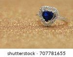 ring blue gemstone heart love... | Shutterstock . vector #707781655