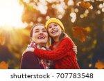 happy family on autumn walk ... | Shutterstock . vector #707783548
