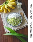 Small photo of Sweet Pounded Unripe Rice Flakes Cereal with Coconut Flesh and Banana