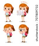 vector set of cute tourist girl ... | Shutterstock .eps vector #707809732
