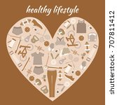 healthy lifestyle background in ... | Shutterstock .eps vector #707811412