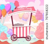 sweet cotton candy land. ice... | Shutterstock .eps vector #707818222