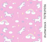 wrapping paper  cute cartoon... | Shutterstock .eps vector #707819356