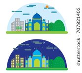 mosque ecology scenery city hill | Shutterstock .eps vector #707821402