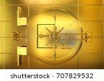 3d Rendering Golden Bank Vault...