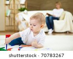 little boy drawing with color... | Shutterstock . vector #70783267