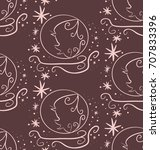 brown seamless pattern ... | Shutterstock . vector #707833396