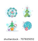 flat christmas and new year... | Shutterstock .eps vector #707835052