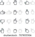 hands gestures thin line icons...   Shutterstock .eps vector #707855506