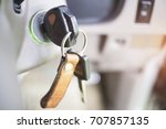 close up of car key in the key... | Shutterstock . vector #707857135