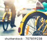 autos and bicycles on road... | Shutterstock . vector #707859238