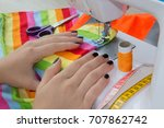 dressmaker woman working with... | Shutterstock . vector #707862742