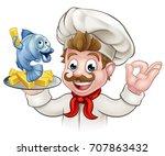 a cartoon chef character... | Shutterstock .eps vector #707863432