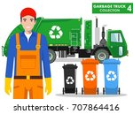 garbage truck collection.... | Shutterstock .eps vector #707864416