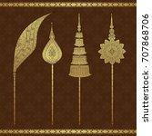 thai art  temple  background... | Shutterstock .eps vector #707868706