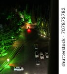Small photo of Overnight parking at the hotel. Yalta, Crimea - 11 July, 2017. Night surroundings and adjoining territories of hotel Yalta Intourist.