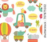 seamless pattern with baby... | Shutterstock .eps vector #707875102