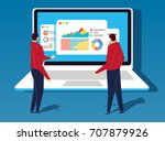two businessmen standing in... | Shutterstock .eps vector #707879926