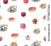 pattern of isolated watercolor... | Shutterstock . vector #707882566
