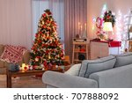 decorated living room with... | Shutterstock . vector #707888092