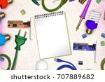 electric themed concept on...   Shutterstock . vector #707889682