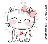 Stock photo cute cat sketch illustration print design cat children print on t shirt girl illustration with 707890336