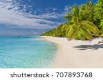 perfect beach scene. summer... | Shutterstock . vector #707893768