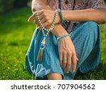 woman  lit hand close up ... | Shutterstock . vector #707904562