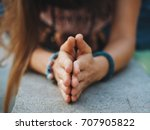 woman hands together... | Shutterstock . vector #707905822