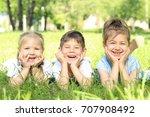 cute little children lying on... | Shutterstock . vector #707908492