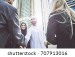 arabic and western business... | Shutterstock . vector #707913016
